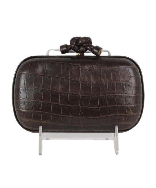 Bottega Veneta brown crocodile clutch 1