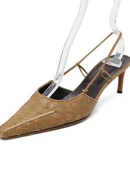 Bottega Veneta Brown Woven Leather Heels 1