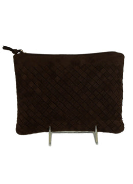 Bottega Veneta Brown Woven Suede Cosmetics Bag 1