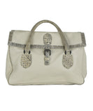 Bottega Veneta Beige Leather Snake Skin Trim Satchel | Bottega Veneta