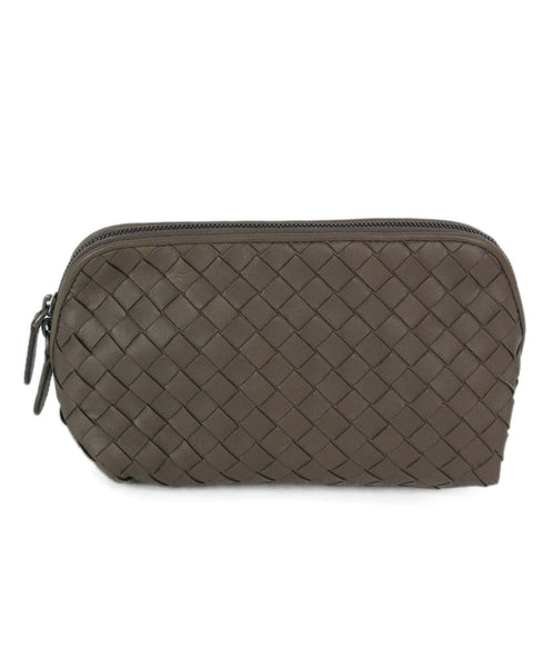 Bottega Veneta neutral taupe woven leather cosmetic case 1