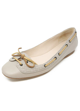 Bottega Veneta Taupe Leather Flats 1