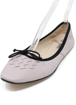 Bottega Veneta Purple Leather Woven Detail Flats