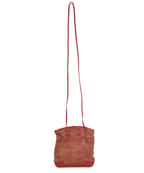 Bottega Veneta red rust snake skin vintage crossbody 1