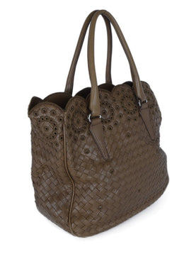 Bottega Veneta Tan Woven Leather Tan Handbag 2