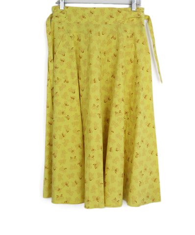 Bottega Veneta yellow cotton print skirt 1