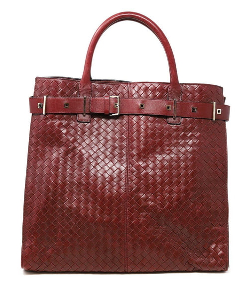 Bottega Veneta Red Burgundy Woven Leather Tote