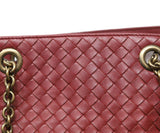 Shoulder Bag Brass Hardware Magnets Bottega Veneta Red Burgundy Handbag