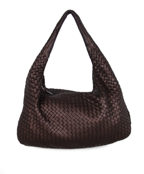 Bottega veneta metallic brown woven leather shoulder bag 1