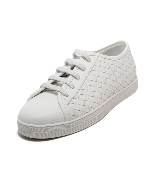 Bottega veneta white woven leather sneakers 1