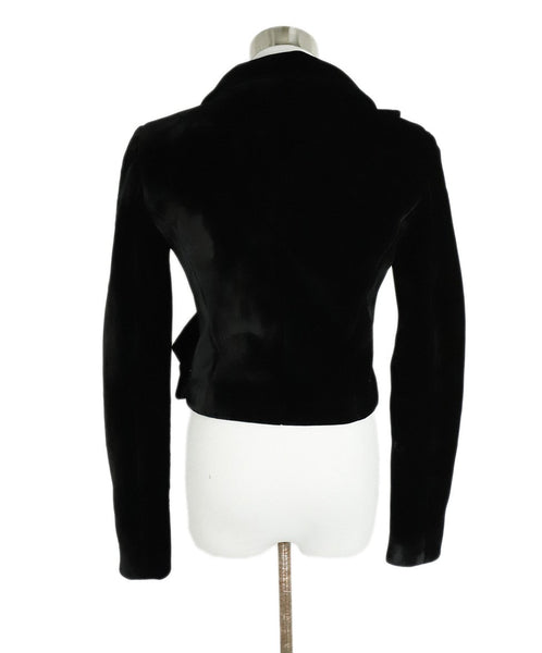 Brandon Maxwell Black Velvet Wrap Jacket 3