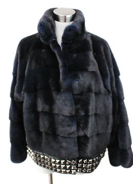 Blue Midnight Mink Fur Studded Trim Fur Outerwear 1
