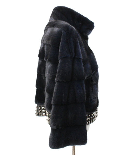 Blue Midnight Mink Fur Studded Trim Fur Outerwear 2