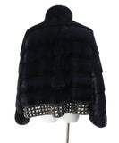 Blue Midnight Mink Fur Studded Trim Fur Outerwear 3
