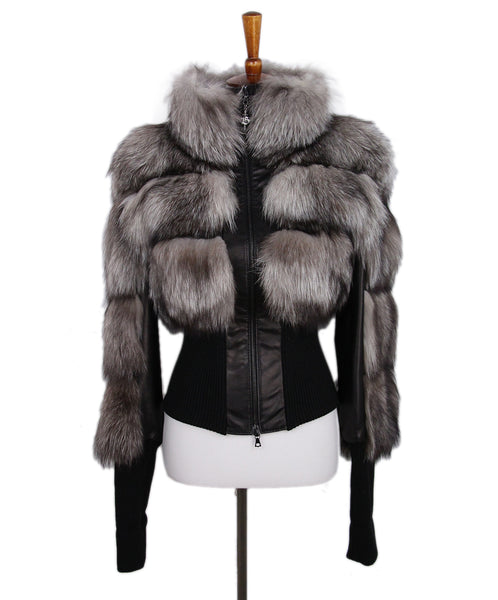 Braude Black Leather Fox Trim Jacket 1