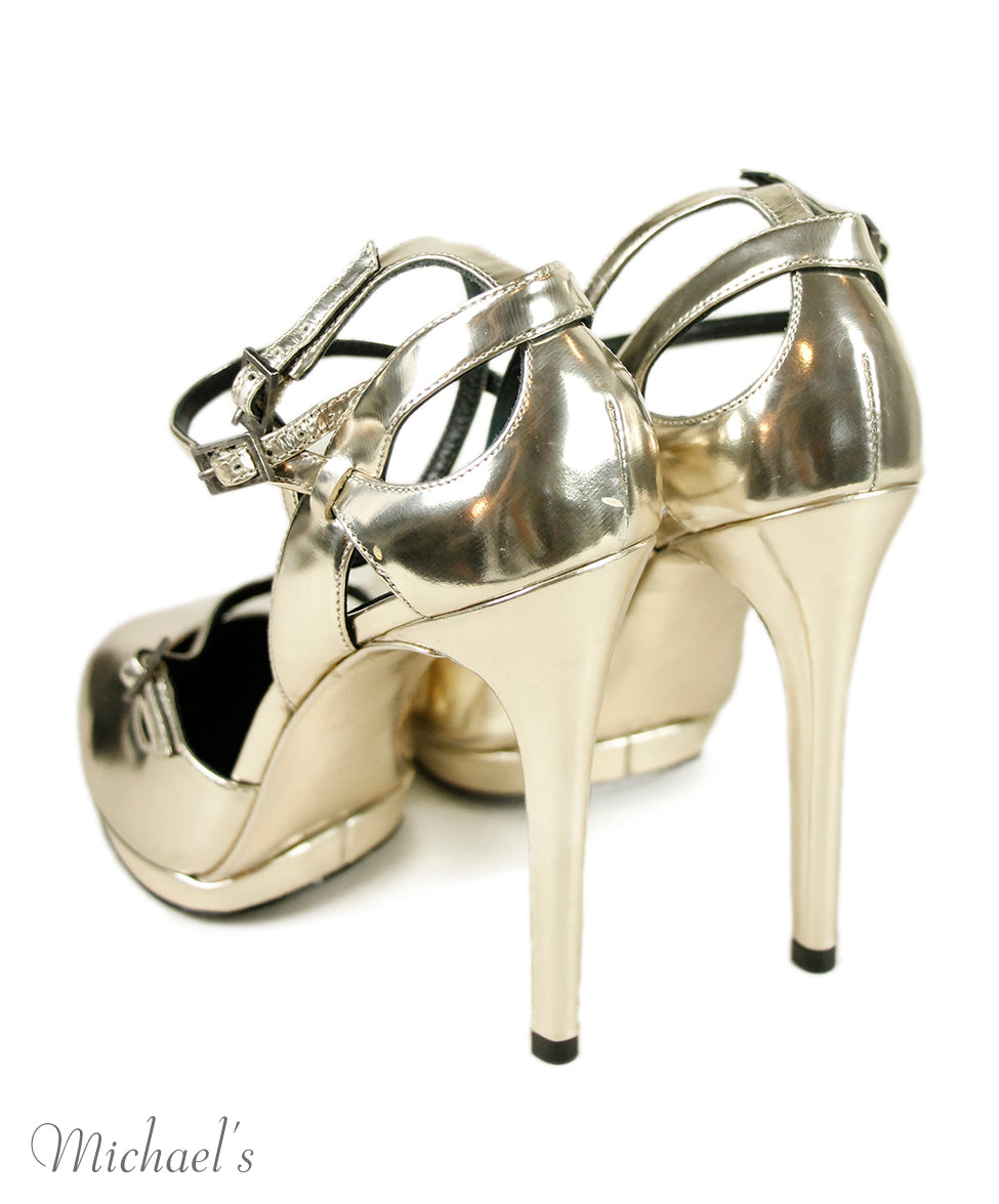 Brian Atwood Gold Leather Shoes 5