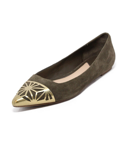 Brian Atwood Olive Suede Gold Trim Flats 1