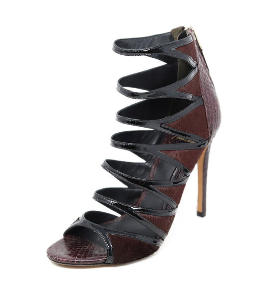 Heels Brian Atwood Shoe Size US 7.5 Purple Plum Black Snake Skin Pony Shoes