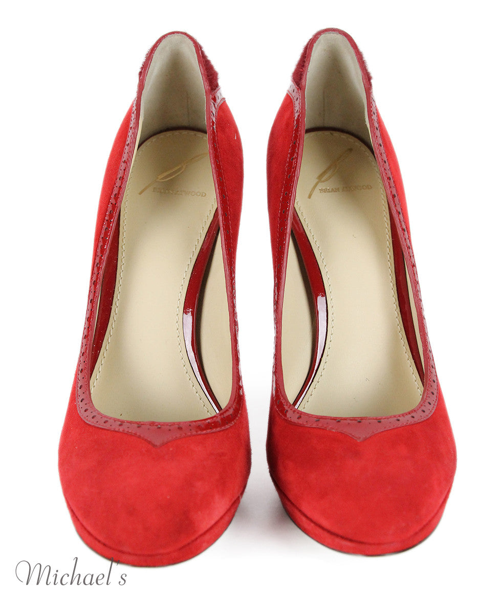 Brian Atwood  Red Suede Patent Leather Fur Shoes Sz 8 - Michael's Consignment NYC  - 4