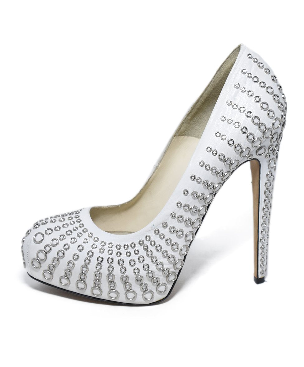 Brian Atwood White Leather Silver Grommet Heels 2