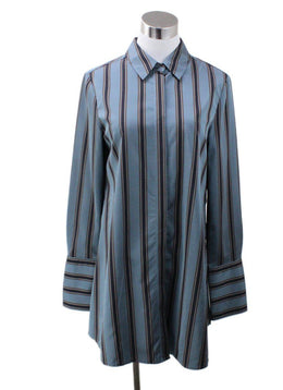 Brock Collection Navy Blue Teal Striped Blouse sz 6