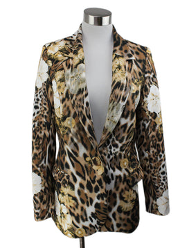 Brown Black Animal Print Floral Blazer 1