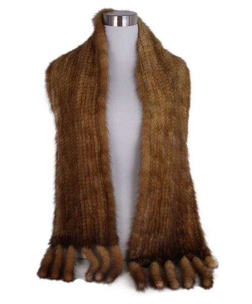 Brown Chestnut Mink tails Scarf 1