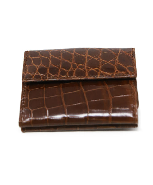 Card Case Brown Light Crocodile Leather Goods 1