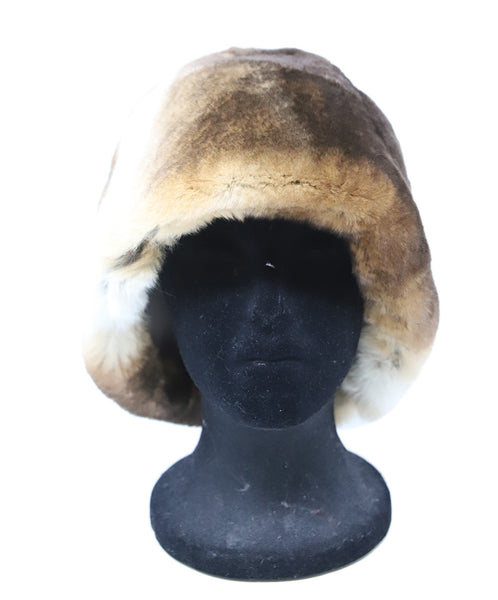 Brown and White Sheared Fur Hat 1