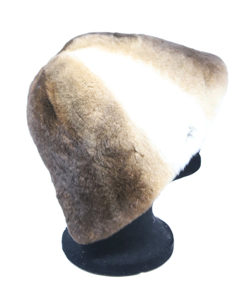 Brown and White Sheared Fur Hat 2