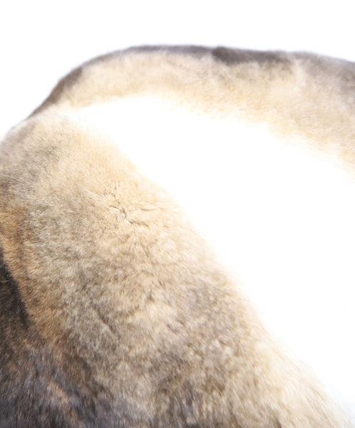 Brown and White Sheared Fur Hat 5