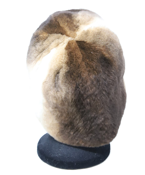 Brown and White Sheared Fur Hat 3