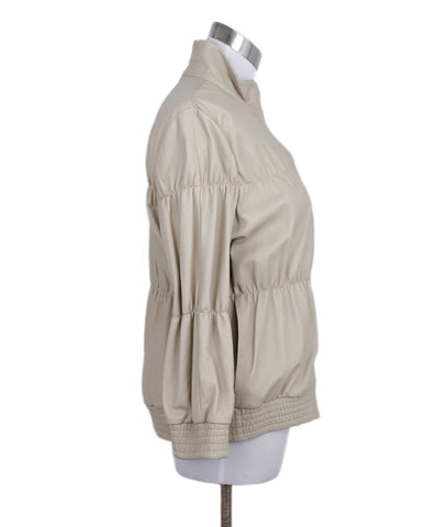 Brunello Cucinelli Beige Gathered Leather Grey Trim Jacket 1