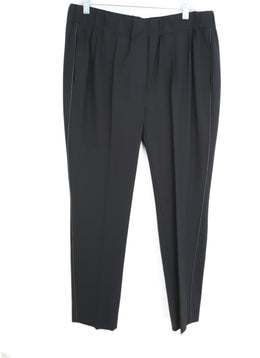 Brunello Cucinelli Black Wool Chain Pants 1