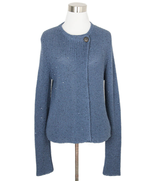 Brunello Cucinelli Blue Cotton Sequins Sweater 1