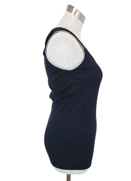 Brunello Cucinelli Navy Cotton Tank Top 2