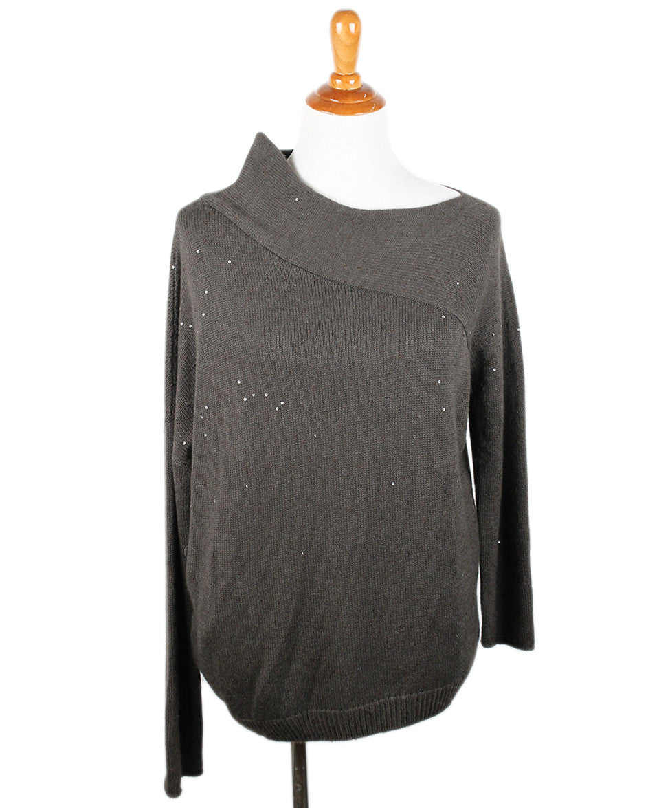 Brunello Cucinelli Brown Cashmere Sequin Trim Sweater Sz 8 - Michael's Consignment NYC  - 1