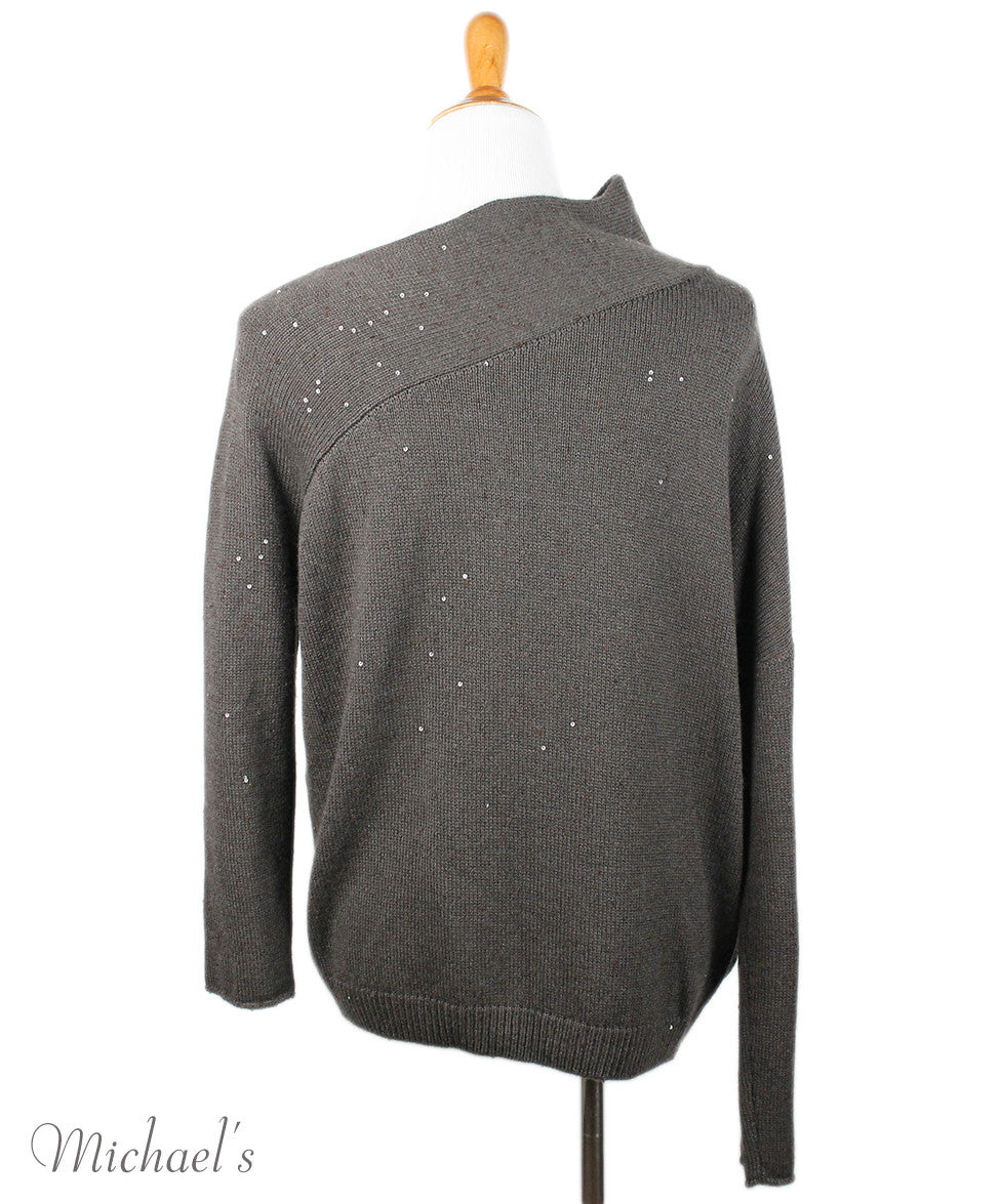 Brunello Cucinelli Brown Cashmere Sequin Trim Sweater Sz 8 - Michael's Consignment NYC  - 3
