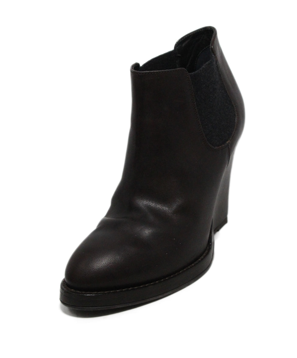Brunello Cucinelli Brown Leather Wedge Booties 1