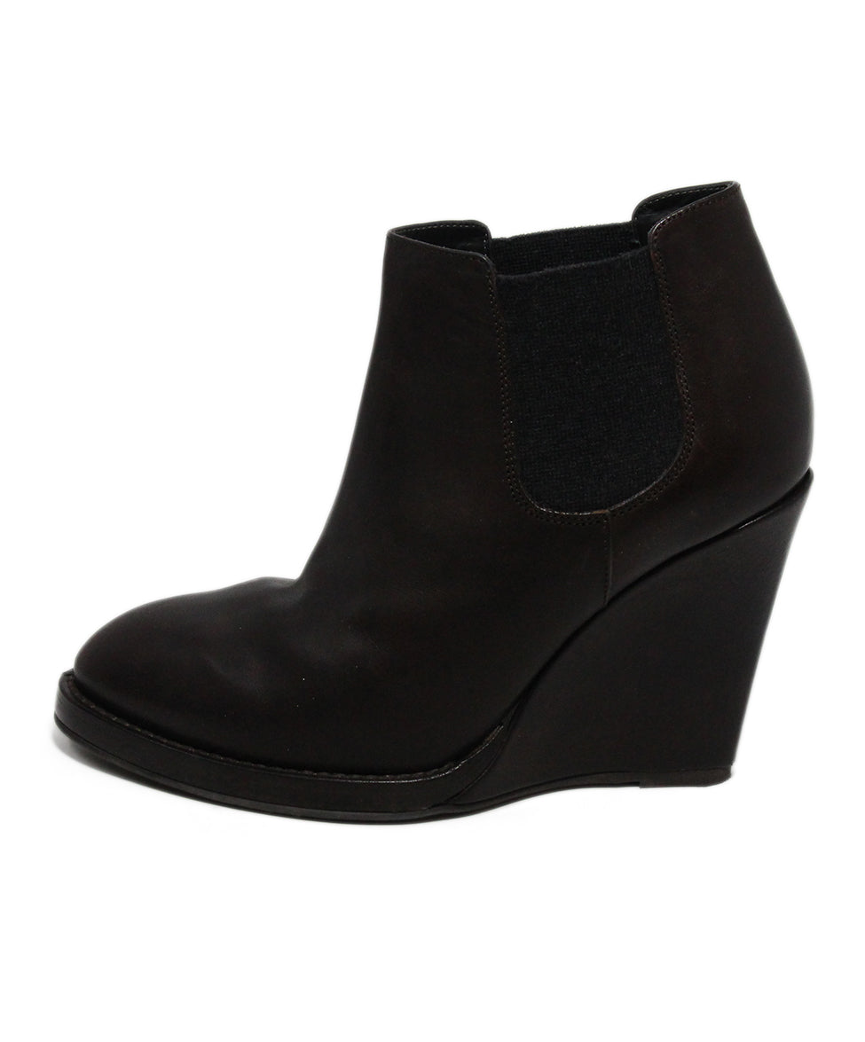 Brunello Cucinelli Brown Leather Wedge Booties 2