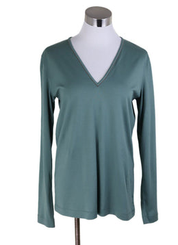 Brunello Cucinelli Green Cotton Longsleeve Top
