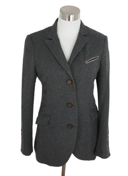 Brunello Cucinelli Grey Cashmere Wool Jacket 1