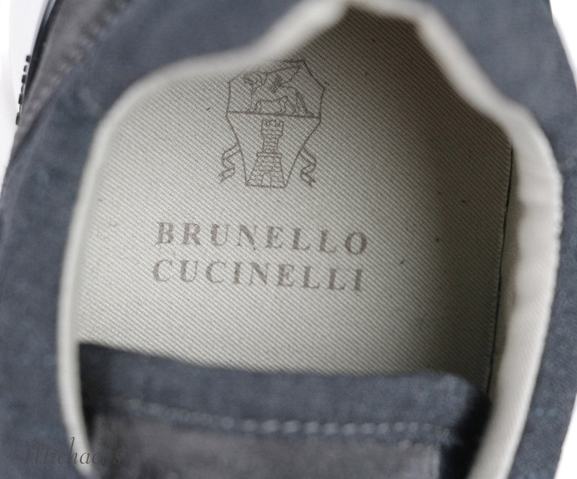 Brunello Cucinelli Grey Suede Sneakers Sz 37.5