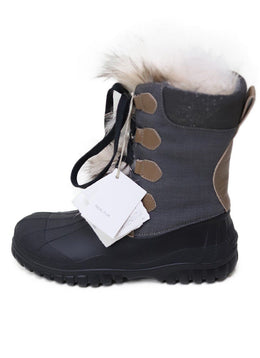 Brunello Cucinelli Grey Flannel Fur Toe flap Boot sz 8