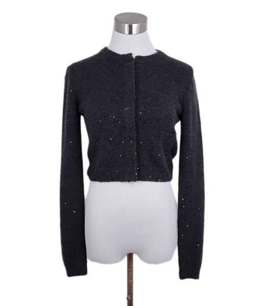 Brunello Cucinelli Grey Cashmere Sequins Suede Trim Sweater 1