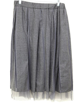 Brunello Cucinelli Grey Wool Tulle Skirt