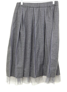 Brunello Cucinelli Grey Wool Tulle Skirt 1