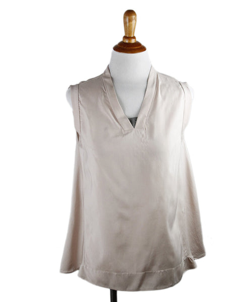 Brunello Cucinelli Mauve Silk Beaded Trim Top Sz Small