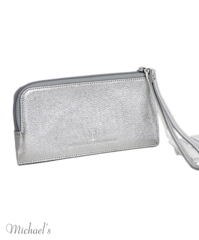 Brunello Cucinelli Metallic Silver Leather Wallet