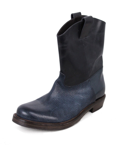 Brunello Cucinelli Navy Black Leather Booties 1